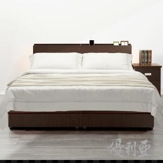 【優利亞】日式文青風雙側崁燈 雙人五尺床頭片+床座(2色)