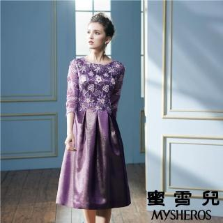 【mysheros 蜜雪兒】紫色花朵繡花洋裝(紫)