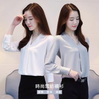 【J&H collection】韓版寬鬆V領雪紡長袖襯衫 M-2XL(藍色 / 白色)