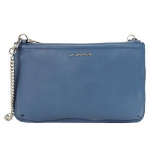 【LA BAGAGERIE】CLUTCH皮革鍊帶扁斜背包(灰藍)