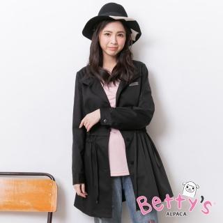 【betty's 貝蒂思】立領腰間抽繩排釦大衣(黑色)
