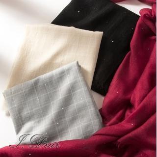 【I.Dear】200支紗水溶純羊毛珠片紗格子加大款圍巾披肩(4色)