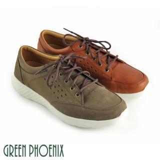 【GREEN PHOENIX波兒德】雷射雕花綁帶全真皮輕量平底休閒鞋(綠色)