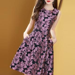 【FQ時尚天后】粉紫香檳晶亮緹花無袖蓬蓬裙洋裝(S-2XL)