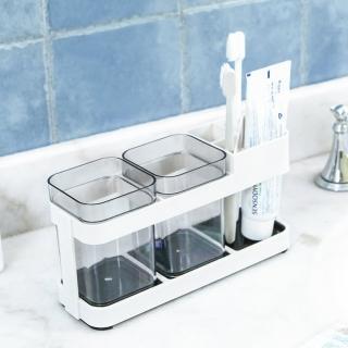 【E.City】簡約風時尚創意牙刷牙膏收納漱口杯架組(雙人款)