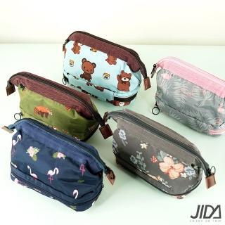【JIDA】可愛印花防潑水多夾層收納化妝包(5色任選-18x16x9cm)
