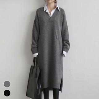 【MsMore】韓風儷人V領寬鬆細麻花百搭毛織長袖洋裝長版上衣103070*#(2色)