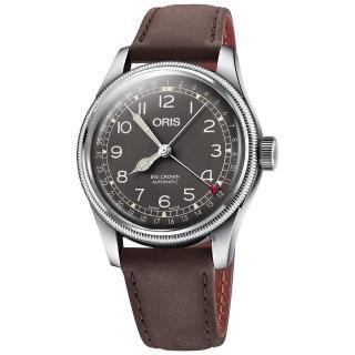 【ORIS 豪利時】Big Crown指針式日期機械錶-灰x咖啡x40mm(0175477414064-0752064)
