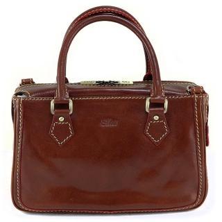 【Sika】義大利時尚真皮手提包/側肩包(M6016A-02深咖啡)