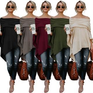 【A3】韓版棉質造型披肩上衣(黑、紅、米白、灰、綠)