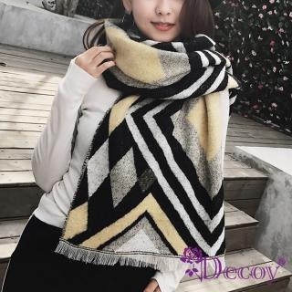 【Decoy】菱格交錯*雙色仿羊絨披肩圍巾/黃