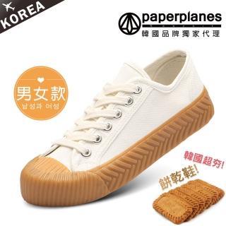【Paperplanes】韓國空運/正常版型。男女款帆布休閒餅乾鞋(7-507大白/現+預)