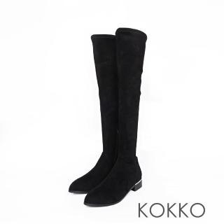 【KOKKO集團】超顯瘦彈力金屬跟過膝襪靴(霧面黑)