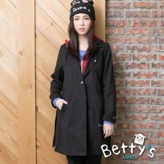 【betty's 貝蒂思】格紋帽抽繩拉鍊排釦長版大衣(黑色)