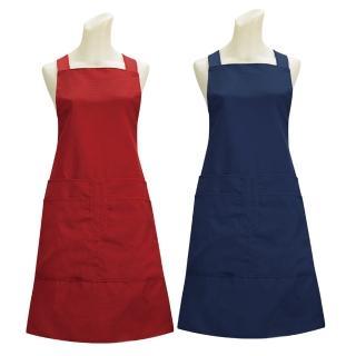 素色四口袋圍裙G517(藍紅二入組)