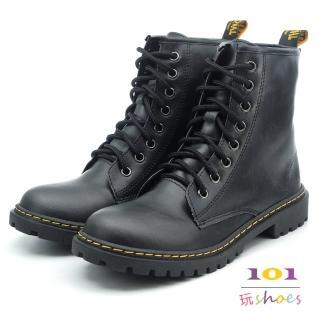 【101玩Shoes】mit. 個性8孔綁帶帥氣馬丁中筒靴(黑色.36-40碼)