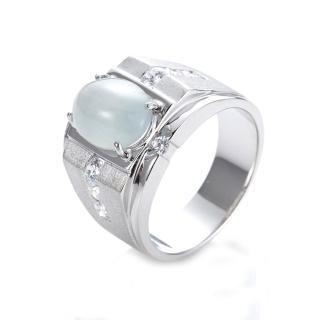 【DOLLY】緬甸 冰種翡翠 晶鑽銀飾男戒