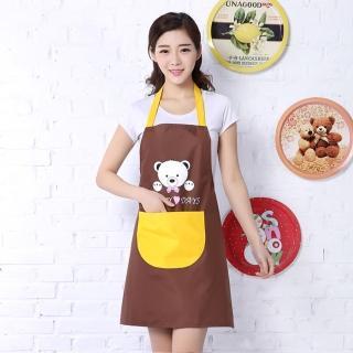 【愛家樂】日韓熱銷可愛小熊防水防油抗污PVC時尚圍裙 廚房烹飪 餐廳 園藝工作服必備(多色造型可選)