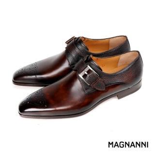 【MAGNANNI】時尚雕花混搭皮革單扣孟克鞋/紳士鞋(咖啡 20091-MBR)