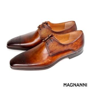 【MAGNANNI】時尚雕花混搭皮革德比紳士鞋(棕色 A20090-CUE)