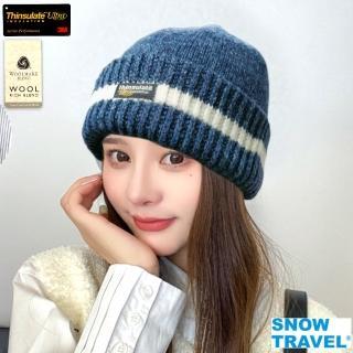 【SNOWTRAVEL】AR-18A-3M男女高級美麗諾85%羊毛帽-反摺橫條款式(滑雪/登山/海釣/賞雪)