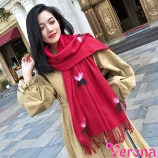 【Verona】夢幻花園仿羊絨加厚圍巾披肩(六色可選)