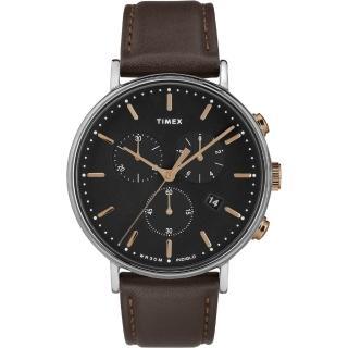 【TIMEX】天美時 Fairfield Chrono系列 時尚三眼計時手錶(深灰/深咖啡色 TXTW2T11500)