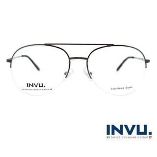 【【INVU】瑞士文雅質感無框光學眼鏡(黑/黑)】B3809B