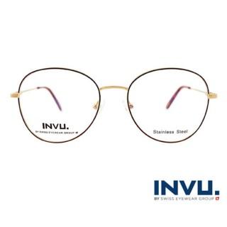 【【INVU】瑞士文雅質感細黑圓框光學眼鏡(白金/焰黑)】B3906A