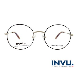 【【INVU】瑞士文雅質感細黑圓框光學眼鏡(白銀/秋彩)】B3903C