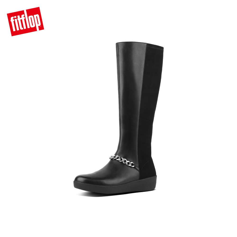 001dc3a89a2aeb FitFlop FIFI CHAIN KNEE-HIGH LEATHER BOOTS(黑色)-momo購物網