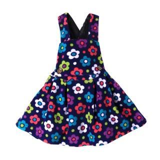 【Baby童衣】任選 女童吊帶裙 細刷毛繽紛印花洋裝 50687(深藍底花朵)