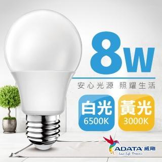 【ADATA 威剛】新二代 LED 8W E27 大廣角 CNS認證燈泡(白/ 黃光)