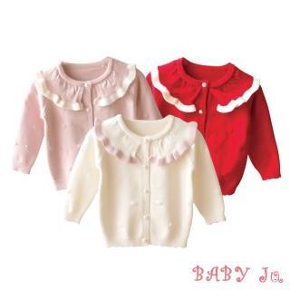 【BABY Ju 寶貝啾】公主木耳邊領糖果色毛衣外套(米色 / 粉色 / 紅色)