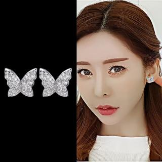 【Emi 艾迷】韓國925銀針全新姿彩雙翼蝴蝶微鑲微鑲耳環