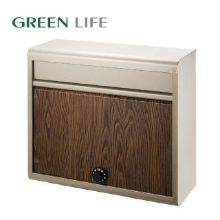 【日本 GREEN LIFE】密碼式木紋烤漆金屬信箱(壁掛、不鏽鋼、金屬製)