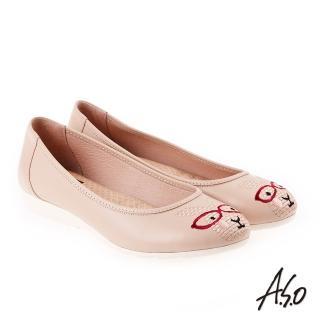 【A.S.O 阿瘦集團】活耀品味 真皮柔軟刺繡娃娃鞋(卡其)