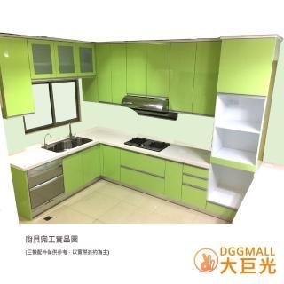 【大巨光】L型精緻歐化廚具/韓國人造石檯面/水晶門板/460公分/不含三機設備(L型廚具含電器櫃400+60CM內)