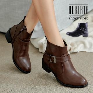 【Alberta】靴子-MIT台灣製 跟高4.5CM 扣環造型 側拉鍊 簡約中性純色 低筒靴 短靴