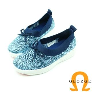 【GEORGE 喬治皮鞋】舒適系列 蝴蝶結彈力水鑽休閒鞋-藍色