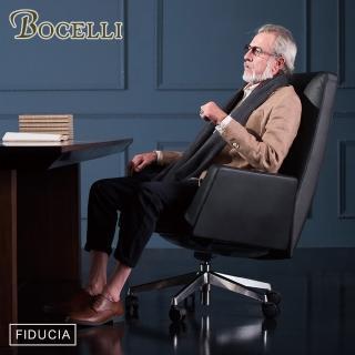 【BOCELLI】FIDUCIA自信風尚高背辦公椅義大利牛皮經典黑(牛皮辦公椅)