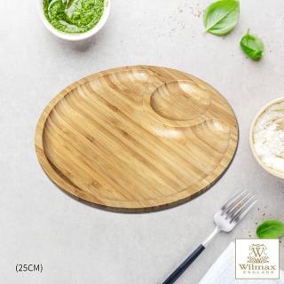 【英國 WILMAX】竹製圓形分隔餐盤/輕食盤(25CM)