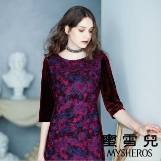 【mysheros 蜜雪兒】復古主義蕾絲緹花洋裝(紅)