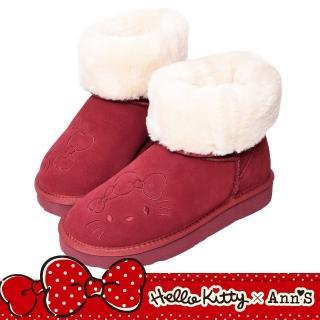 【Ann'S】HELLO KITTY X Ann'S毛茸茸可愛靴面刺繡中筒可反摺真皮雪靴(紅)
