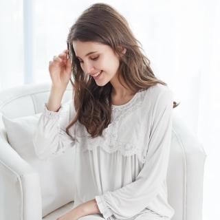 【La Felino 羅絲美】甜蜜蔓延長袖褲裝睡衣(潔淨白)