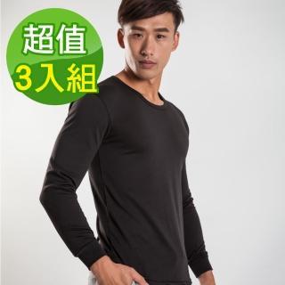 【G+ 居家】3入組 束口刷毛暖暖衣(黑色_圓領_男款)