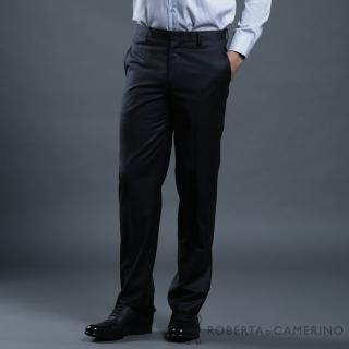 【ROBERTA 諾貝達】合身版 商務紳士 羊毛細格紋西裝褲(黑色)