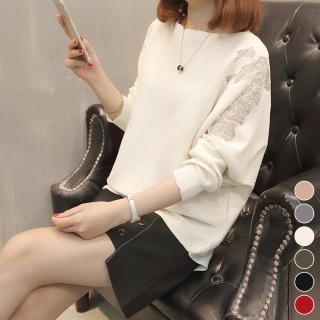 【MsMore】韓國江南名媛微透蕾絲袖毛織上衣103234j#(5色M-L適穿)