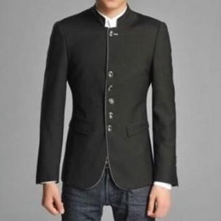 【米蘭精品】中山裝外套中式上衣(復古立領中國風男西裝外套2色65e33)