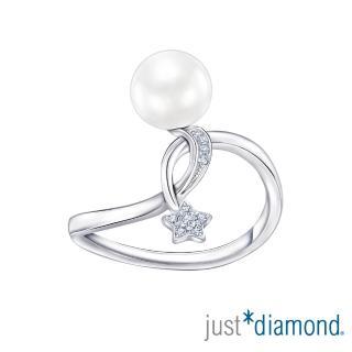 【Just Diamond】閃閃星辰系列 珍珠18K金鑽石戒指-簡約版